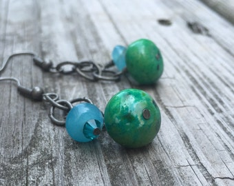 Aqua Blue and Teal Green Stone and Glass Beaded Dangle Earrings with Oxidized Silver Chain and Findings