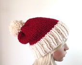Knit Santa Hat, Slouchy Beanie, Christmas Hat, Holiday Hat,  Pom Pom, Cranberry and Fisherman
