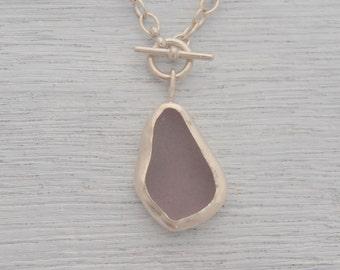 Super Duper Big Huge Purple Sea glass Toggle Necklace