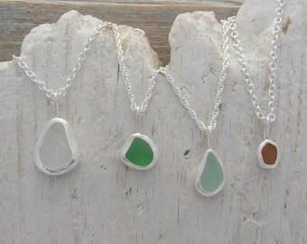 Custom genuine sea glass necklace - Pretty colors