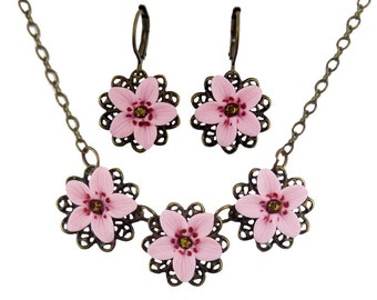 Cherry Blossom Jewelry Set - Sakura Jewelry, Trio Cherry Blossom Jewelry, Cherry Blossom Wedding Jewelry, Cherry Blossom Gifts Idea