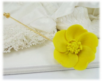 Yellow Buttercup Brooch or Stick Pin - Buttercup Jewelry
