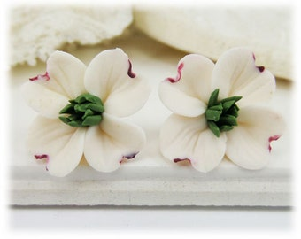 White Dogwood Earrings Stud or Clip On - Dogwood Jewelry Collection