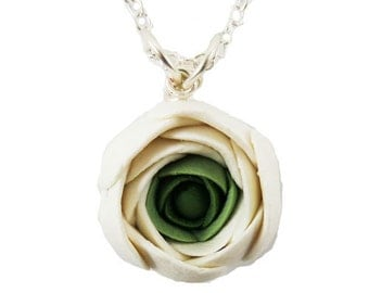 White Ranunculus Necklace - White Flower Necklace, Ranunculus Jewelry, Ranunculus Pendant, Ranunculus Wedding, White and Green Flower