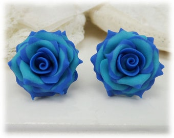 Blue Tip Turquoise Rose Earrings Stud or Clip On