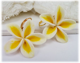 Large Plumeria Earrings - Big Frangipani Earrings, Plumeria Jewelry