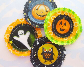 Halloween Fabric Applique Embellishments Set of Four