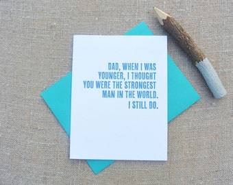 Letterpress Greeting Card - Father's Day Card - Strongest Man in the World - DAD-157