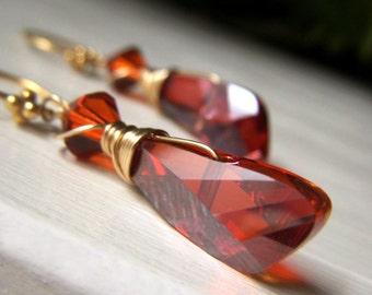 Angel Wing Earrings, 14k Gold Filled Red Magma Red Orange Swarovski Crystal Earrings, Wirewrapped Crystal Briolette, Rust Earrings