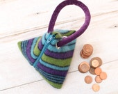 Triangle Pouch in  Purple  Teal and Green Stripes