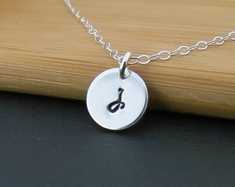 ON SALE Personalized Tiny Initial Necklace Sterling Silver Sequin - Hand Stamped Tiny Drop - Bridal, Layering Necklace