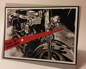 Unique Hand stamped Motorcycle Photo Greeting Card Birthday Get Well Congrats  for Bikers