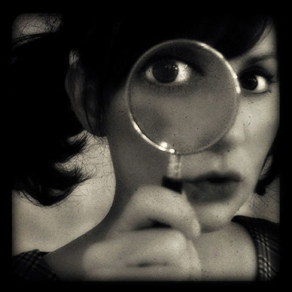 Surreal Photograph, Black and White Photography, Sepia, Magnifying Glass, Woman, Self Portrait, Amelie, Gothic, Wall Art, Dark Art, quirky