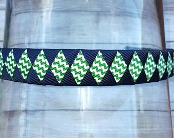 "Blue and Green Headband Green and Navy Chevron Headband 3/4"" Back to School Headband School Uniform Headband Emerald Green and Blue Headband"