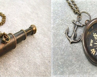 SALE - Two Nautical necklaces - Brass Compass and Brass Spyglass - Steampunk necklace -