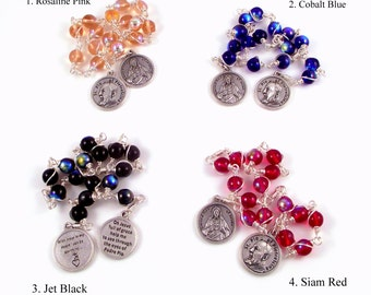 Rosary Chaplet Sacred Heart of Jesus Novena With St Padre Pio In AB Czech Glass by Unbreakable Rosaries | You Choose Color