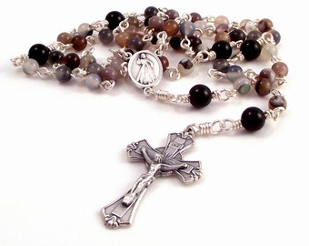 Divine Mercy of Jesus Medjugorge Rosary Beads In Botswana Agate by Unbreakable Rosaries
