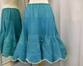 Up Cycled Petticoat Tuquoise Taffeta 1950s Petticoat Turquoise Green Repurposed Petticoat with Scallopped Edge Half Slip Semi Full Size S M