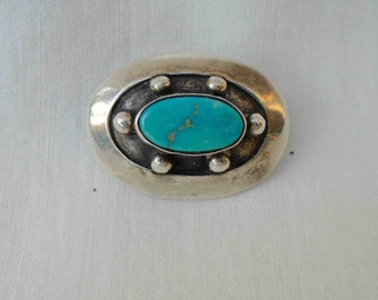 Vintage Sixties Oval Sterling Silver and Turquoise American Indian Pin or Brooch / Mid Century Southwestern Jewelry