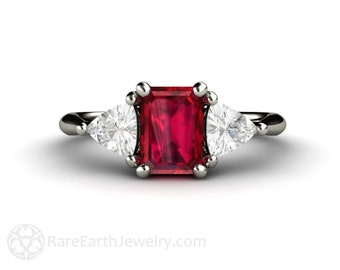 Ruby Engagement Ring Vintage Ruby Ring White Sapphire Trillions 3 Stone Three Stone 14K or 18K Gold Platinum