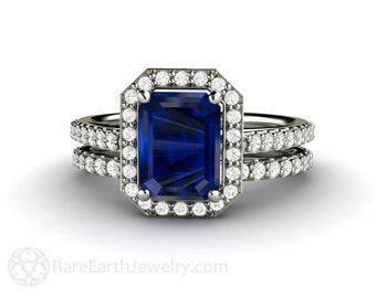 Blue Sapphire Engagement Ring Bridal Set Sapphire Ring Diamond Halo in 14K or 18K Gold Wedding Set Blue Gemstone Ring