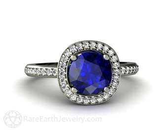 Blue Sapphire Engagement Ring Diamond Halo Sapphire Ring Custom Wedding Jewelry 14K 18K Gold or Palladium