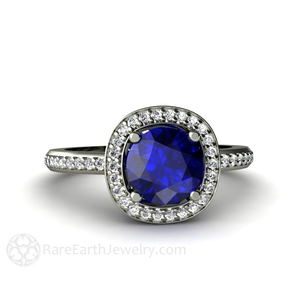 Blue Sapphire Engagement Ring Diamond Halo Sapphire Ring