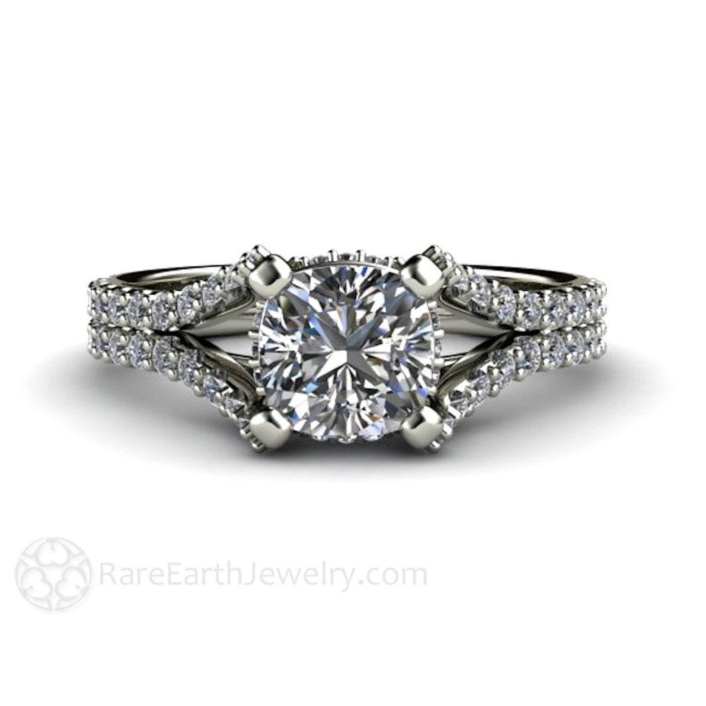 Split Shank Pave Diamond Moissanite Engagement Ring by RareEarth