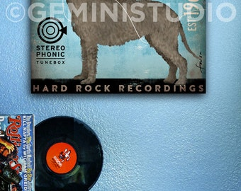 Irish Wolfhound records dog music artwork illustration on gallery wrapped canvas by Stephen Fowler