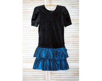 Vintage 1980s Dress, Black Velveteen with Taffeta, Ruffled Party Dress, V-Back, Taffeta, Drop Waist