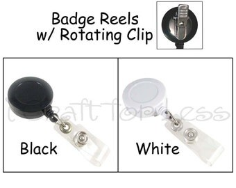 50 ID Badge Clip / Holder / Reels with Rotating Clip and Plastic Strap - Free Shipping - SEE COUPON