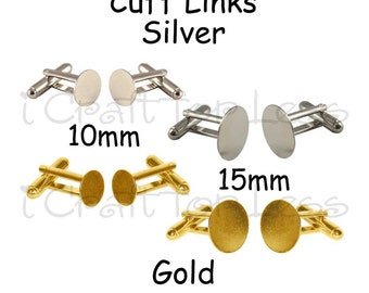 10 (5 pair) Cuff Links Blanks - Select Color and Size of Glue Pads - SEE COUPON