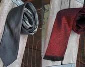 2 Vintage Ties 50s Silk Print Gray silk tie Vintage 50s Red fringe Tie Wembley vintage Print ties birthday Gift ties