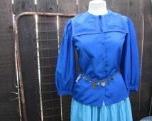 Vintage Sailor Blouse 70s Steampunk Blue satin blouse Victorian style pleated sleeves Gay 90s blouse Blue vintage blouse S  M