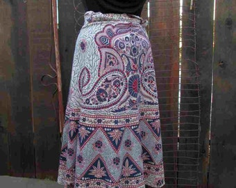 Vintage 70s Hippie Wrap skirt Vintage boho wrap skirt Paisley India cotton wrap skirtS M