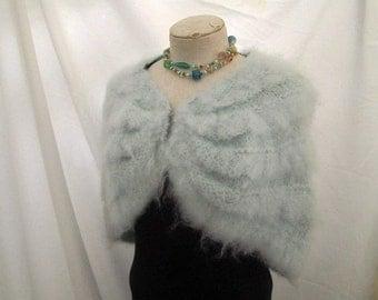 Vintage Blue Mohair Cape vintage wedding coverup 50s Capelet short knit cape shrug S M