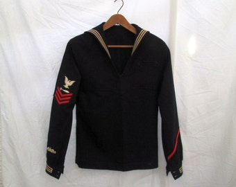 Submariner WWII 40s Vintage US Navy Sailor Shirt Torpedomans Mate Wool Jumper Middy Nautical uniform shirt Costume S