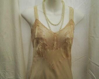 30s Vintage Slip Cream bias cut silk and lace lingerie 1930s Vintage Wedding slip S M