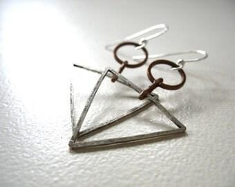 Triangle Hoop Infinity Earrings, Metalwork Silver Copper Chevron Dangle Drop Earrings, Silver Copper Jewelry, Handmade Jewelry