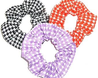 3 Hair Scrunchie Houndstooth Black Orange Purple White Scrunchies by Sherry Ponytail Holders Ties