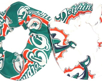 Miami Dolphins Fabric Hair Scrunchie Scrunchies by Sherry NFL Football