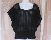 Vintage Black Lacy Knit Top size Large