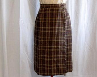 Vintage Wool Brown Plaid Kilt Skirt size 12