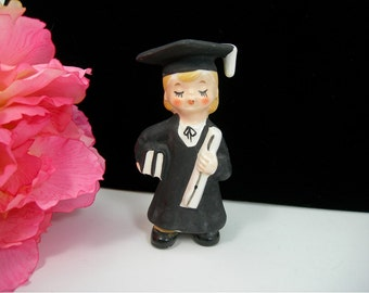 Lefton Ceramic Girl Graduate Figurine in Black Gown, Vintage 1950s Kitsch, Made in Japan, Books and Diploma, Graduation Cake Topper, Gift