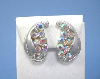 BSK Rhinestone Earrings White Aurora Borealis Leaf Clipons, Silvertone Satin Finish Ear Climbers Upsweeps, Vintage c1950s Costume Jewelry