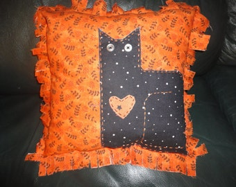 Halloween Black Cat Pillow New Handmade Applique Orange Black Print SHIPS FREE