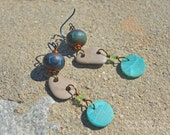 Glacial Waters - Lampwork, beach stone and Chrysocolla earrings