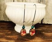 Sparkling Swarovski Dangle Earrings~ Vintage Multi Colored Glass Stone Pierced Earrings~Feminine Pretty Gift For Your Glamour Girl