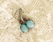 Blue and Topaz Earrings~Glass Stone & Light Topaz Swarovski Dangles~Vintage Feminine Jewelry~Gift for a Friend~Something Blue for Bride
