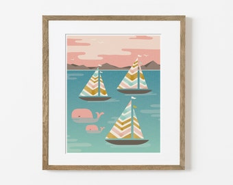 sunset sail print